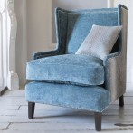 Queen Ann chair upholstered in blue draylon fabric